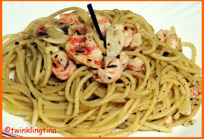 Butter Garlic Prawn Spaghetti