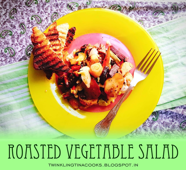 roasted vegetable salad, roasted salad recipe, salad recipe, salad meal recipe, easy salad recipe, no green salad, filling salad recipe