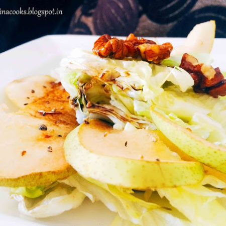 Pear and Lettuce Salad with Toasted Walnuts