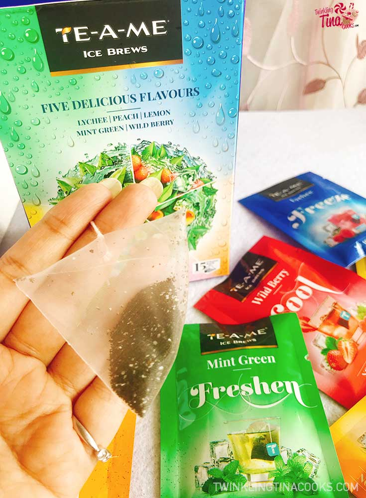TE-A-ME-Ice Brews review pyramid tea bag